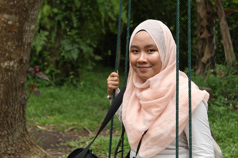 Salihah's nostalgic moment on the swing