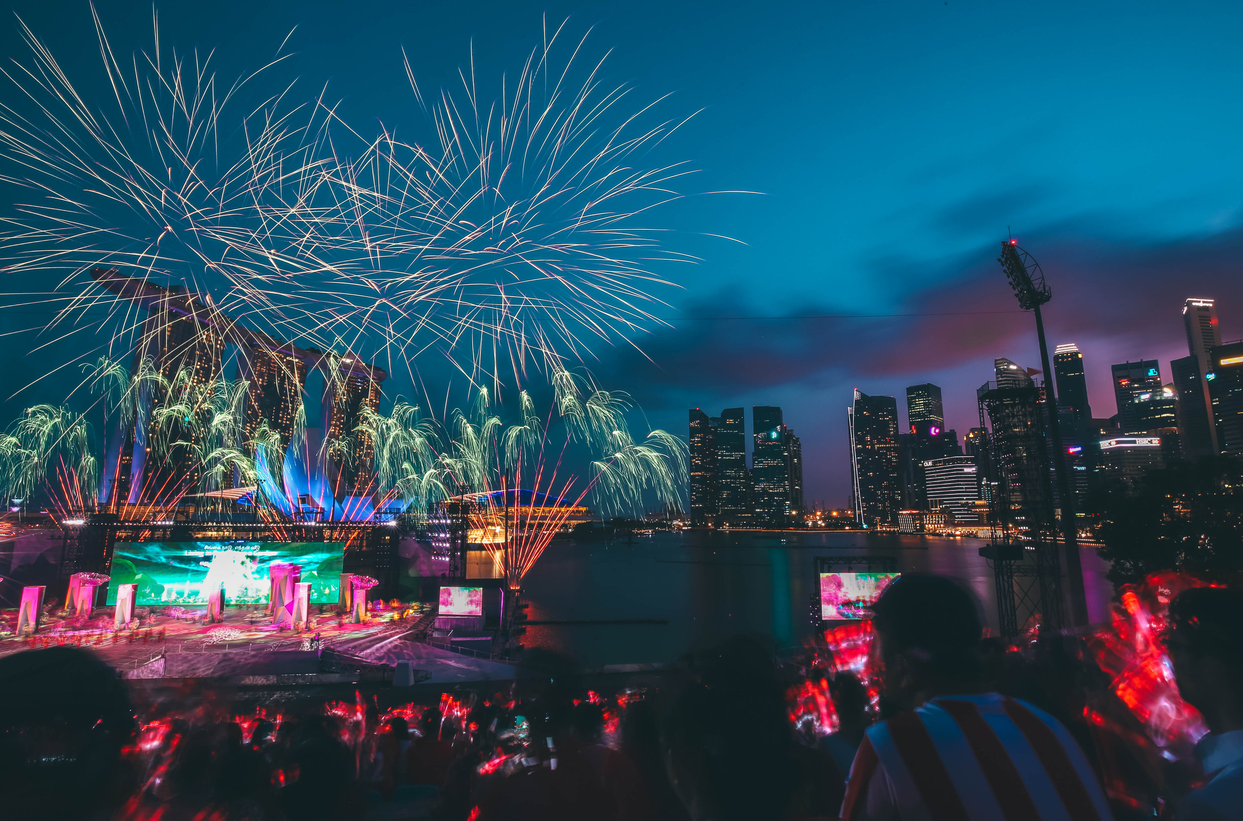 Shot of the fireworks from the floating platform at the 2017 National Day Parade