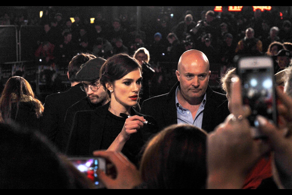 """I can't sign that. Not because it's an explicit lyrics rap album, but because I didn't sing on that one""  Amazingly, Keira Knightley is first to arrive and within seconds I've already taken a better shot of her than I did in all of "" A Dangerous Method """