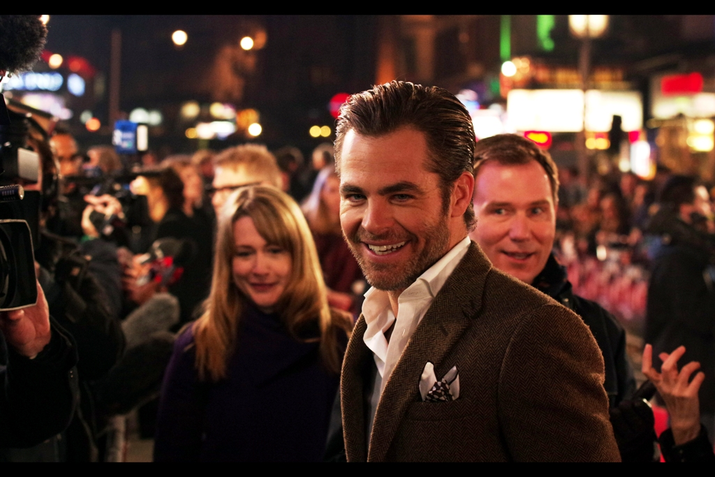 """That dude with the strange expression and the freakish disembodied hand he controls with his mind are right behind me, aren't they?""  Chris Pine is best known for playing captain James T Kirk in theStar Trek reboot films, the premieres for which I attended : both  The First One in 2009  and  The Second One Last Year"