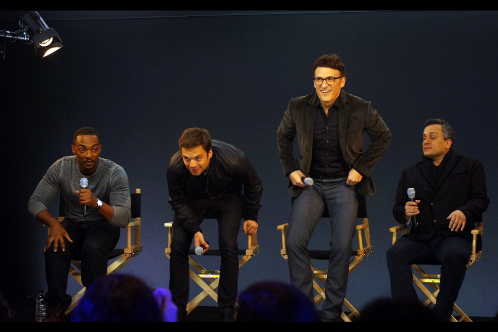 They're here -- and more importantly that guy won't be beaten up by fans! From left to right it's Anthony Mackie ('The Falcon'), Sebastian Stan ('The Winter Soldier') and brothers Anthony and Joe Russo