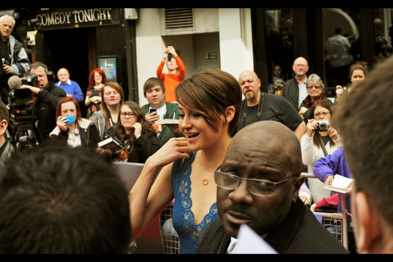Lead actress Shailene Woodley has arrived, and her bodyguard is making sure everyone knows about it.