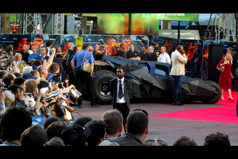 The Tumbler / Batmobile. I didn't get to see it drive, and didn't really get to hear it either. But it was there, and it didn't get wheel-clamped, which in London is kind of rare.