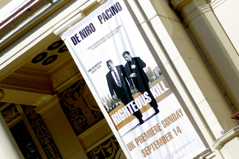 """Righteous Kill"""" I'll admit I hadn't heard of the film until I did a check of upcoming premieres in London and this one kind of leapt out since it starred 50 Cent and Donnie Wahlberg... uh, I mean Al Pacino and Robert De Niro"""