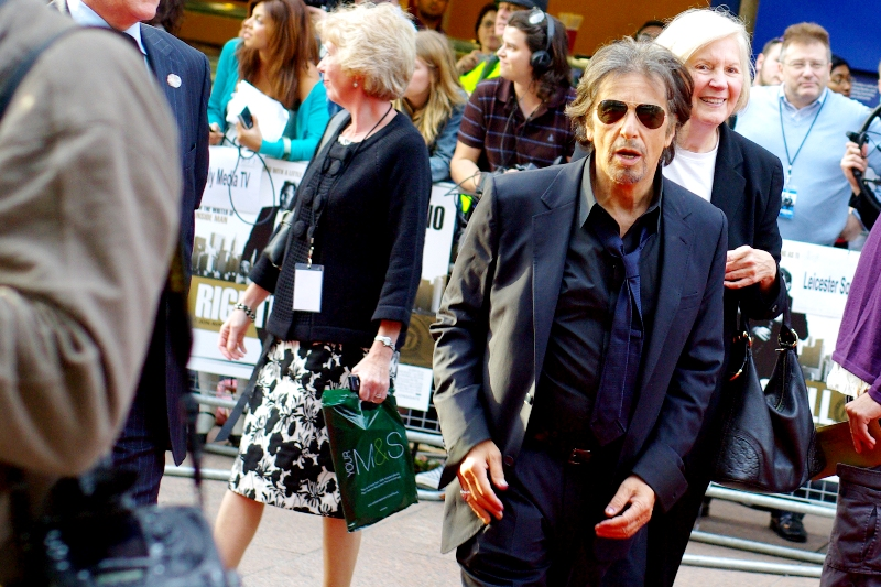 """Al Pacino! Many of us theorise that as soon as he signs onto a role in any movie, that character's dialogue is amended to include at least one five-minute screaming rant in full 'Al Pacino Mode'. Woo! I call this photo """"You Can Call Me Al"""""""