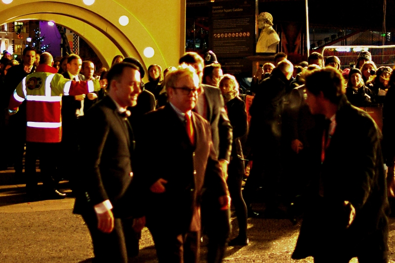 For once I was actually a bit too busy to take shots of celebrities not attached to the film (or even Yellow Cap Guy, who was further up and across) but fine, Sir Elton John showed up. Here's a blurry shot, now scoot off and enjoy the film, man.