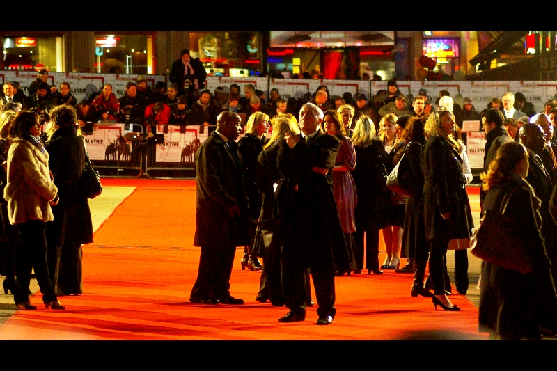 Tom Cruise's head of security (?) (centre, with trenchcoat) would have preferred to launch a pre-emptive air strike on the whole Leicester Square area in the hours before the premiere, but was overruled 3-2 by the Mayor of London's office. Or so I heard.