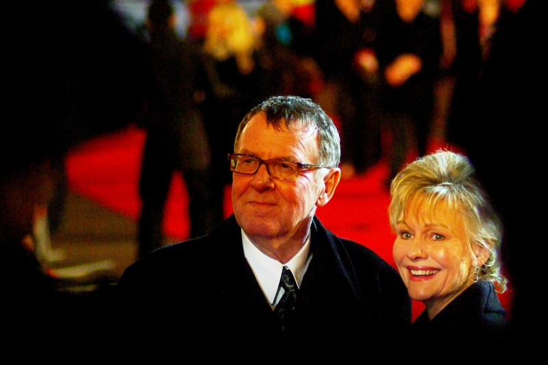 Actor Tom Wilkinson (crime boss Falcone in 'Batman Begins') was in the movie and its premiere. That's all I've got.. .they can't all be zingers where commentary is concerned.