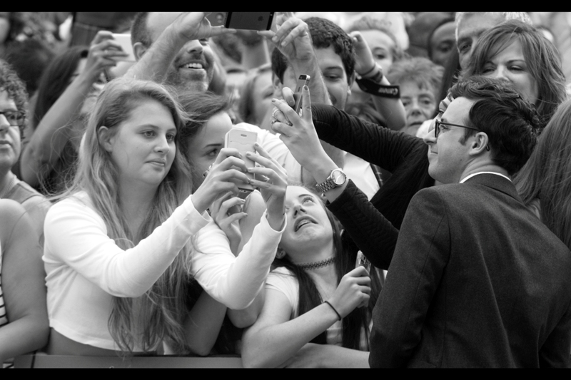 Ordinarily I'd be posting photos of the just-arrived Emily Barrington (who amazingly is best known for being in 24 : Live Another Day!)... but I have to post this photo of Simon Bird performing an inadvertent exorcism on some girl. Or so I choose to observe and report. Well done, Mr Bird.