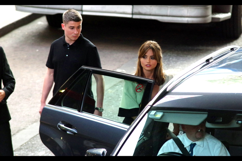 But wait. What light through yonder car door emerges? It is the East, and Jenna Coleman brings a bodyguard in a polo shirt.