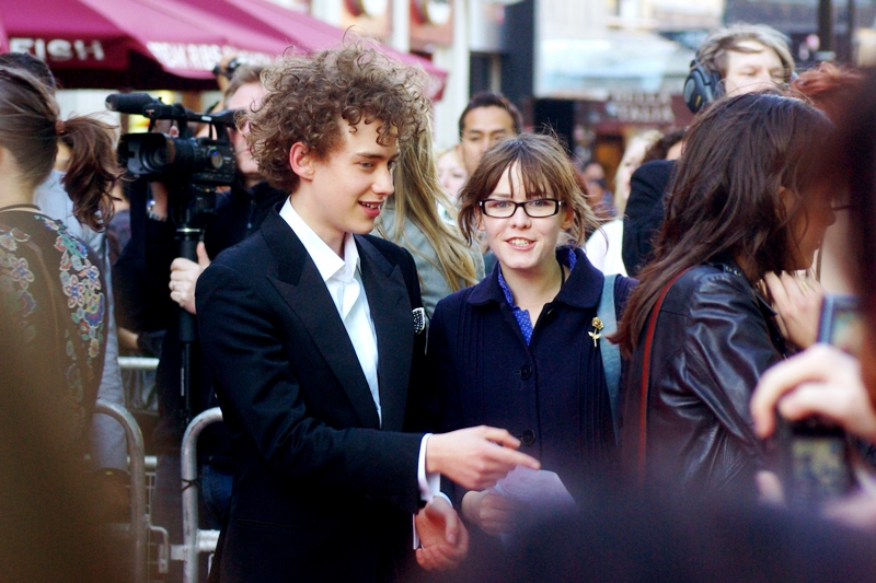The guy on the left is... (checks IMDB and wireimage furiously) 'Olly Alexander' and he has five acting credits, and scarily 4 of them are from this year. His assistant (?) on the other hand looks exactly like every girl in a Teen Movie who only needs to pull her hair back and take off her glasses and she'd probably become immediately and obviously gorgeous.