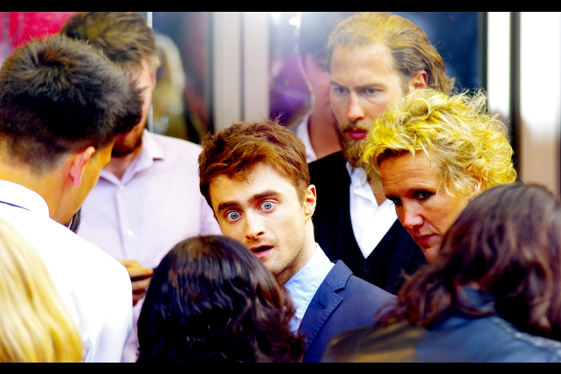 """""""You did what to who and did WHAT with the body???""""   The lady to the side of Daniel Radcliffe looks a bit too unconcerned for my taste."""