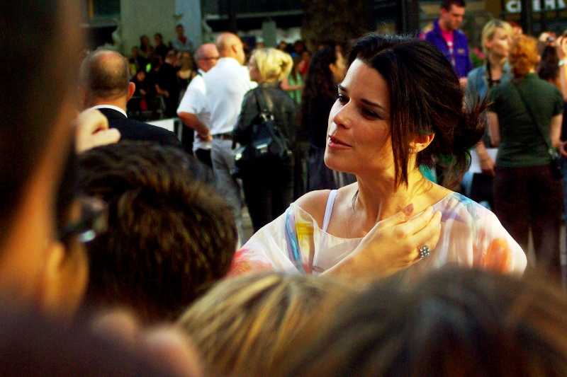 Randomly, actress Neve Campbell showed up. She's not in this movie, but she is pretty.