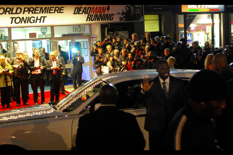 """… all I needed was one person's flash to go off and this would have been pretty much perfectly exposed and a high-and-blind-shot would actually have paid off for once. But it didn't. And it isn't. Here, """"50 Cent"""" (aka Curtis Jackson) shows up in the world's biggest F**KOFF WHITE-coloured Rolls Royce."""
