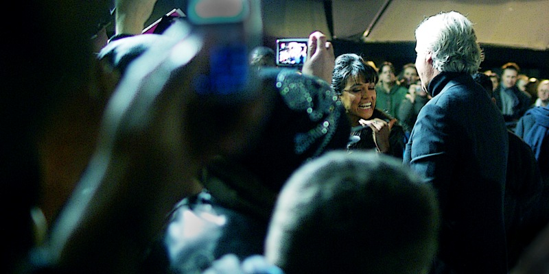 James Cameron meets a particularly excitable fan. Oh, wait, that's actress Michelle Rodriguez, who is also in the film.