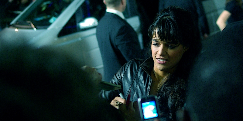 """Michelle Rodriguez was in  """"Fast and Furious"""" , as was Laz Alonso (above), while Alonso was in the TV series """"Entourage"""" in an episode called 'The Abyss' which references a film by James Cameron, who has also appeared in """"Entourage"""".... It's all rather neat, really! (Except this is a photo of Michelle Rodriguez)"""