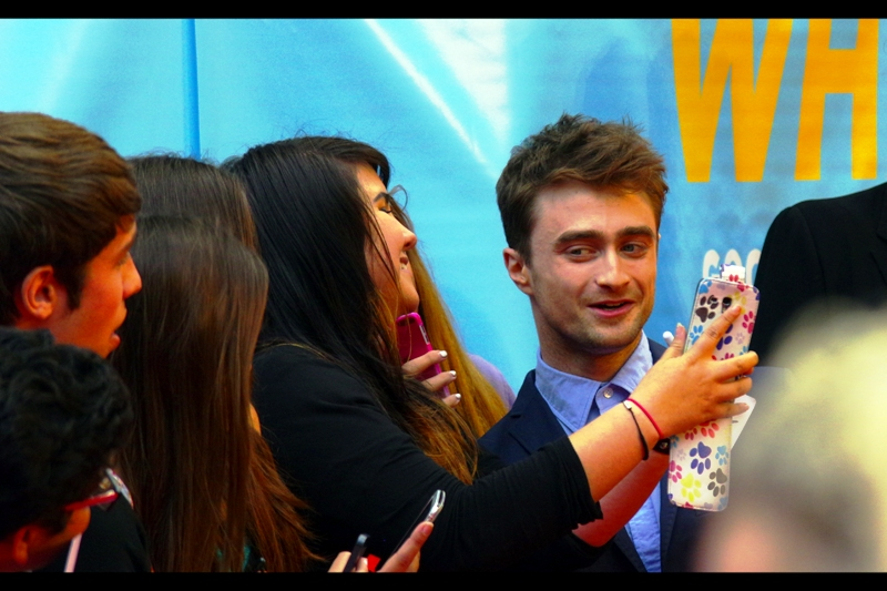 """Hey, Baby. Did you know I'm in movies?"" Daniel Radcliffe at  the premiere of ""What If"""