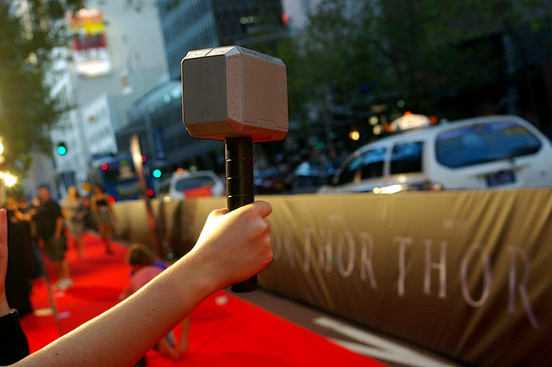 Well, there's no way THAT'S not getting signed at a world premiere... Thor's Squeezy-Hammer, well played, ma'am.