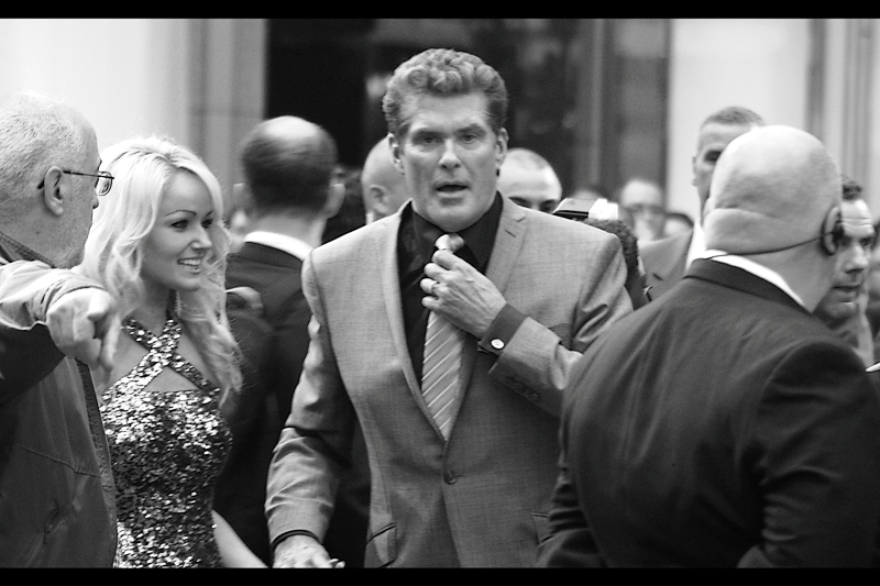 The Hoff is walking my way! What do I do?? Offer him blood? Sign whatever he puts in front of me? I don't know... you generally don't get training in that sort of thing...