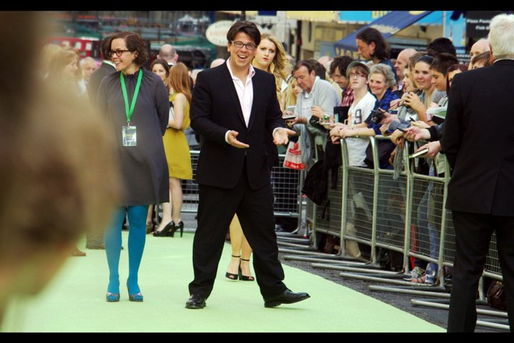 Comedian Michael McIntyre. So close to Mike Myers, name-wise, but not close enough. I don't believe he has any connection to the production.
