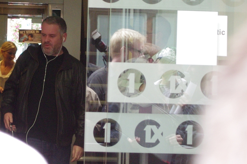 My fave Radio 1 DJ Chris Moyles leaves early to avoid the impending crush. (and/or join it... I'm not saying which)