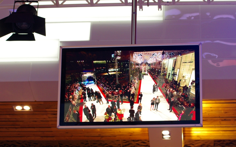The ceiling mounted TVs in our area showed the quirky white carpet layout they had going. The stars would arrive at the top left, and worked their way around to the top of the right branch where the escalators leading up into Westfield were, along with another long length of white carpeting. THAT'S where I was (apparently you can walk the length in 3 minutes. It took the stars 90. But I'm getting ahead of myself)