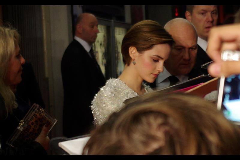 Oh. That's right. Refer movie poster. Emma Watson makes it   Harry Potter Connection #4  . And in the absence of Michelle Williams, Dominic Cooper, Julio Ormond and the enigmatically named 'Pip Torrens' and 'Michael Kitchen' I suspect I'm going to be featuring a lot of photos of her. As for the Paparazzi, they're all preparing by starting to shout en masse, which is a sound remarkably primal and not (say) operatic in any way.
