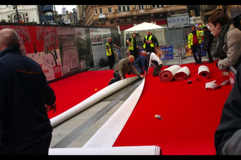 The red carpet is laid, the position is good, and as far as we know there should be some people coming. Premieres have their own particular kind of fog of war that people walking past leading ordinary lives don't care about. Like, at all.