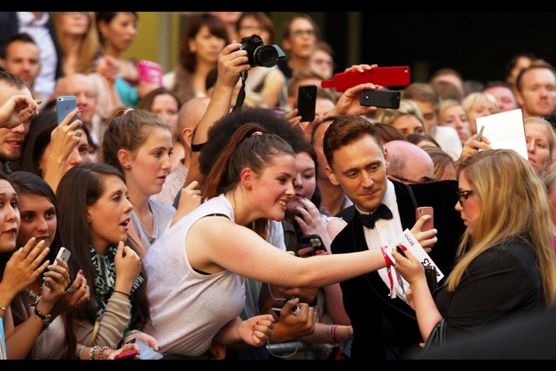 "Tom Hiddleston. Crowd Excitement Level : I should have kept the earplugs from yesterday's ""RUSH world premiere"""