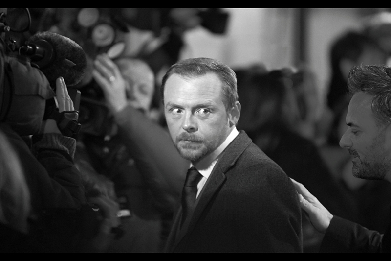 Meanwhile, the photographic opportunities are never wasted when the camera is trained on Simon Pegg, and here's another. I know he owes my five dollars, but I think he thinks I've set debt collectors out there to grab it. (aka : Simon Pegg looking quirkily awesome, part IV)