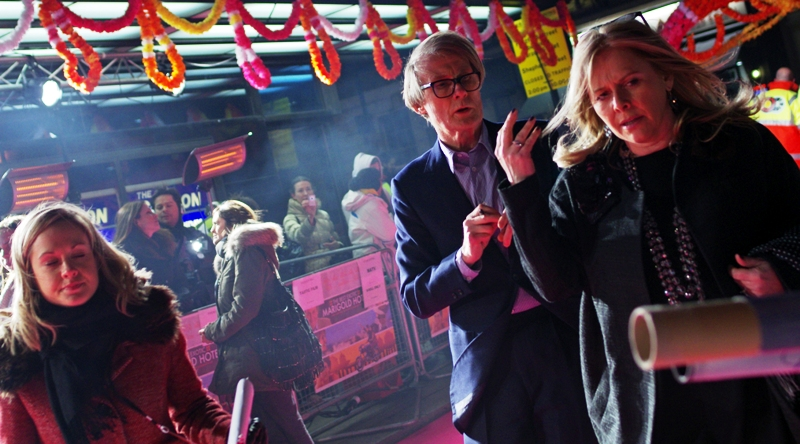 Bill Nighy (Davey Jones from Pirates of the Caribbean, Minister for Magic in HP7b, etc) shows up and readies himself.