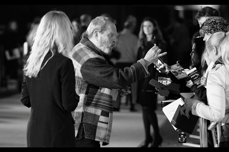 Director / Monty Python Terry Gilliam wears another of his impressive knit / quilt jackets to a premiere. I'm just sorry I had to convert to black'n'white to cope with the white balance issues it was causing my camera.