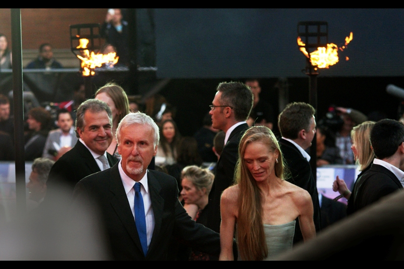 James Cameron has been married 5 times, which means between he and I we've been married 2.5 times. And been halfway down the Mariana Trench. And directed movies that have grossed in excess of $2billion. And photographed Charlize Theron on 1.5 occasions. Wow, we totally rock!!