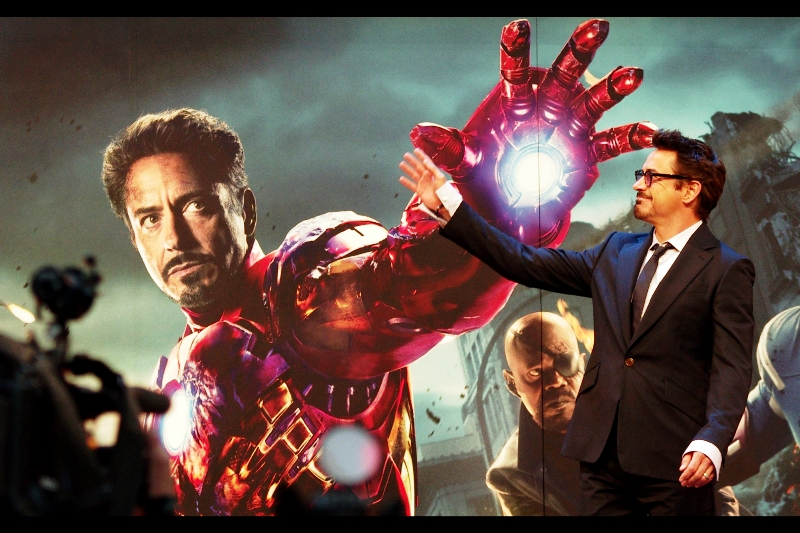 """Hey, it's me! Looking good"" . Something tells me that Robert Downey Jnr doesn't find it a stretch playing billionaire playboy Tony Stark."