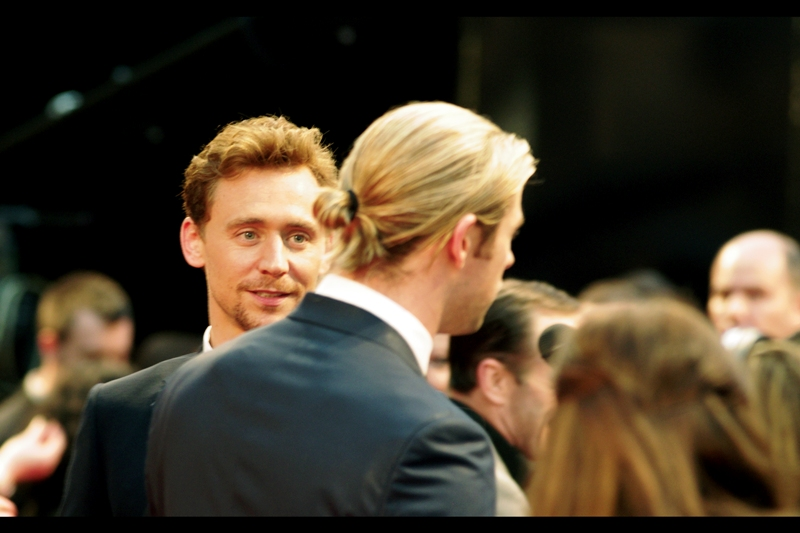 """Your Hair Looks Stupid"" ""YOUR Hair Looks MORE Stupid"" ""I'm telling our Dad on you""  On-screen brothers Loki and Thor meet in front of the press pen. Punches are not thrown. (Actually they seem like good friends)"