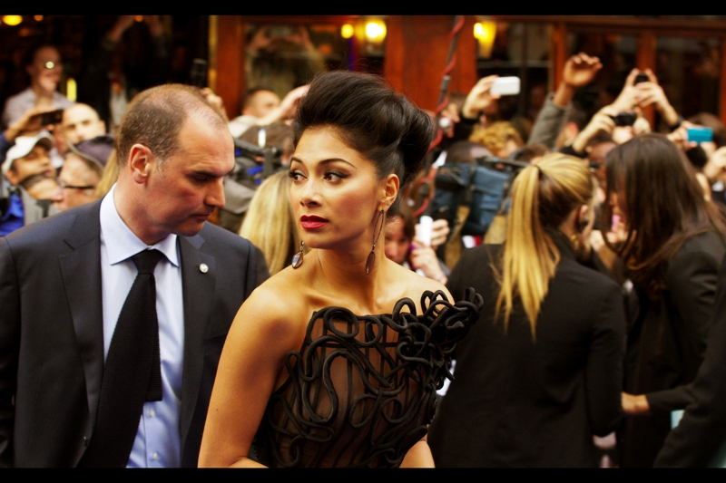 Nicole Scherzinger is wearing a dress that would have seemed excessively modest at  the Snow White And The Huntsman premiere a few days ago , but here is looking totally crazy. (to be fair, I haven't fully seen what Josh Brolin is wearing).