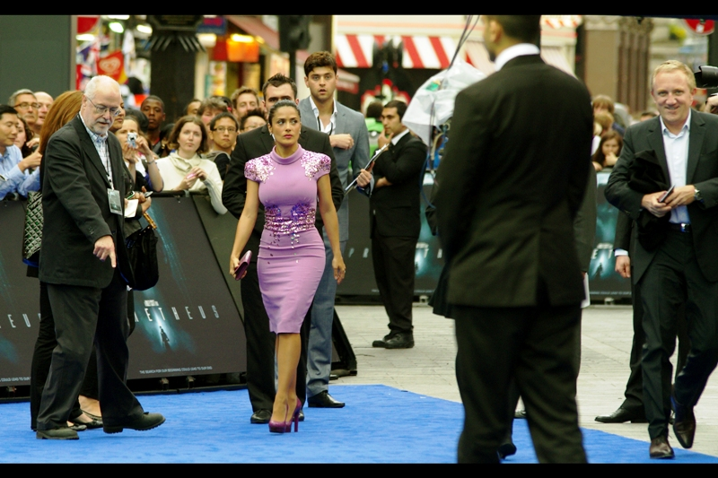 """And then, for no readily apparent reason, Salma Hayek and her purple (mauve? puce? russet?) dress showed up. Which is kind of a nice bonus - I never did get a good photo of her at the  """"Puss In Boots premiere""""  last year.."""