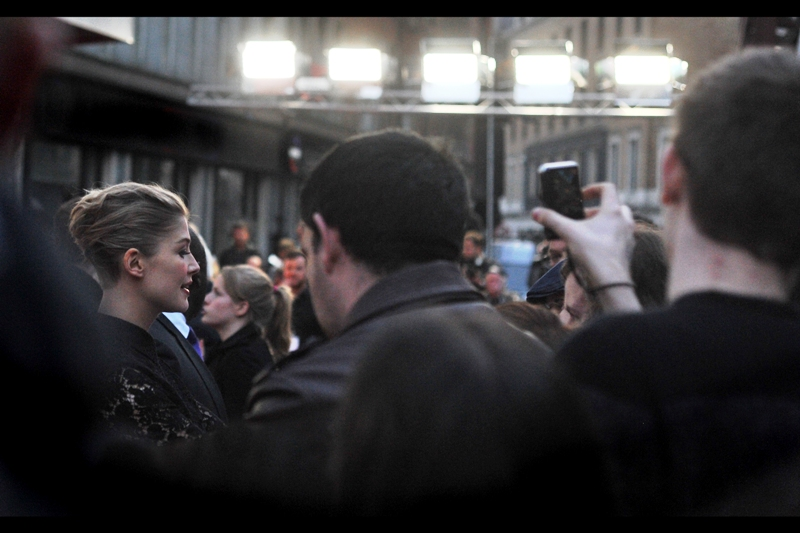 Thankfully, the crying, screaming and shaking of the girls around me allows me to reorient myself sufficiently to photograph Rosamund Pike, who in my personal view is even more attractive than David Tennant, manly beard and kilt-with-long-socks notwithstanding.