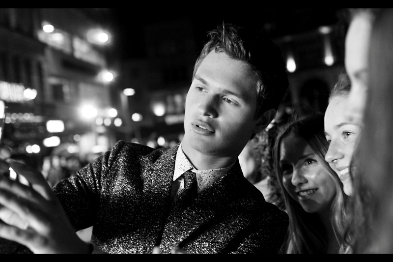 """""""There's nothing wrong with your camera, ladies. It's just that my suit really is that sparkly""""  Ansel Elgort has hit our part of the crowd, and I am being easily outmuscled by girls less than half my age and bodyweight."""