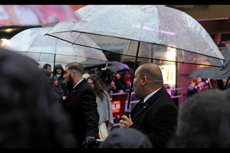 My first spot seemed to be about 70% 'view of umbrellas', 25% 'view of security guards' and the rest mostly raincoats and wet hair. (I hope I've established the glitz and glamour of the occasion adequately)