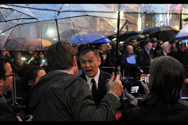 """""""Have you seen 'Gone Girl'? It totally rocks!!""""  Teddy Chan directed this film and wants to know where exactly his umbrella is. I'm currently wearing a beanie and its ability to absorb much more water is looking a little bit dicey. And 'Gone Girl' does indeed totally rock."""
