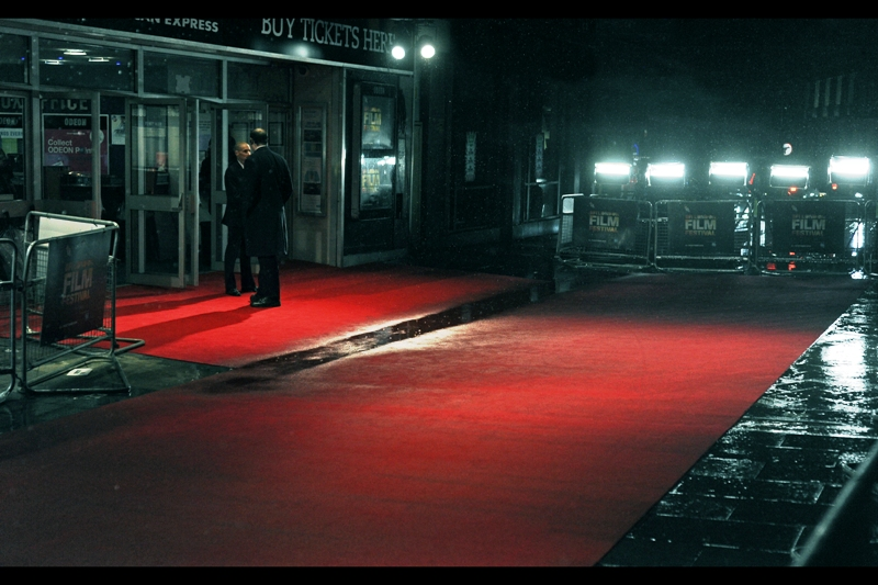 On a red carpet, talking to myself. Now THAT'S chaos theory.