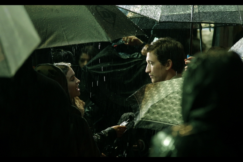 The other actor from this film at the premiere is Miles Teller, who as well as being surrounded by umbrellas at really odd heights and angles, like seemingly everybody aged under 30 in Hollywood, was also in the most recent 'Divergent' film.