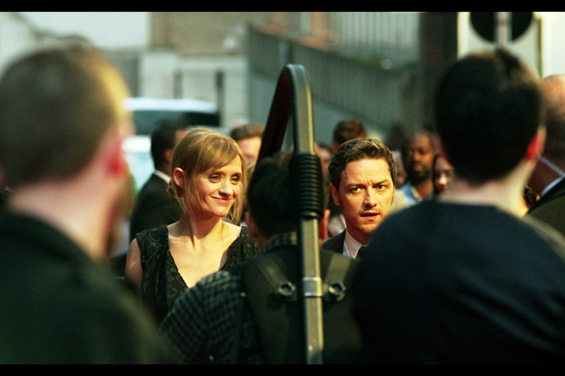 "Our main (and also Only) star in attendance for THIS film: James McAvoy, here with girlfriend and fellow actor Anne-Marie Duff. His confusion : probably something to do with the odd title of the film ""The Disappearance of Eleanor Rigby : Them"". It's up there with ""Horton Hears A Who"" in some respects."