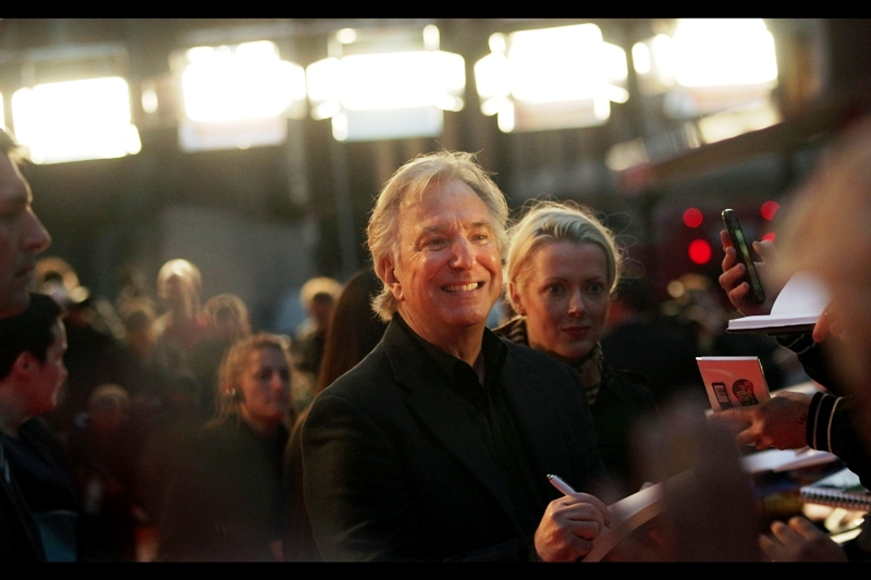 "Alan Rickman almost but not quite manages a smile at  the premiere of ""A Little Chaos"""