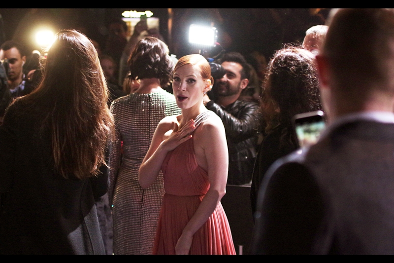 Jessica Chastain and I appear to have made a connection. Alternatively, those are metal claws on her dress and I'm about to get impaled. But... like... friendly-ly.