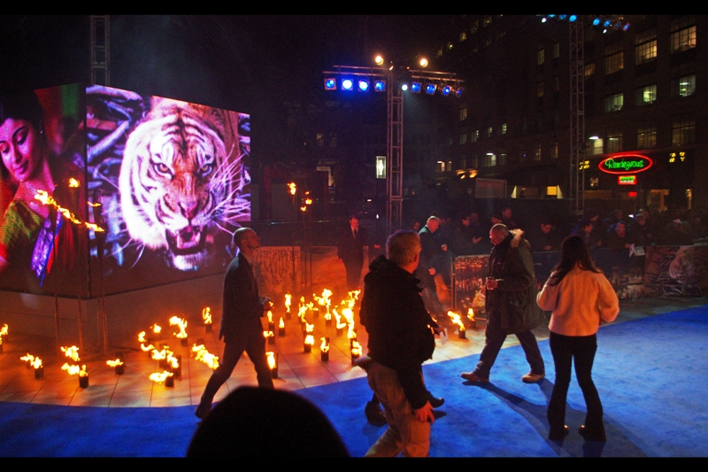 Blue carpet. Flames. Low temperatures. If they're walking a tiger down the carpet for the publicity, I think it's going to be cranky.