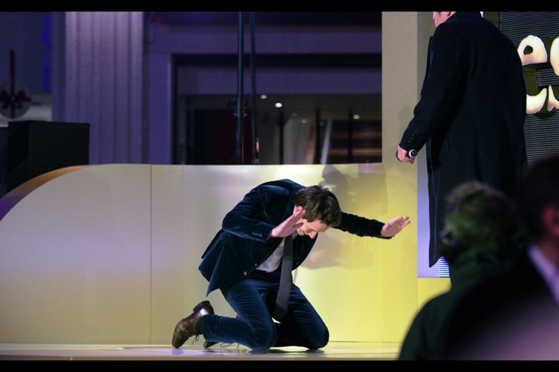 Eddie Redmayne (Marius in the film) bows down to the original Marius, whose name escapes me.