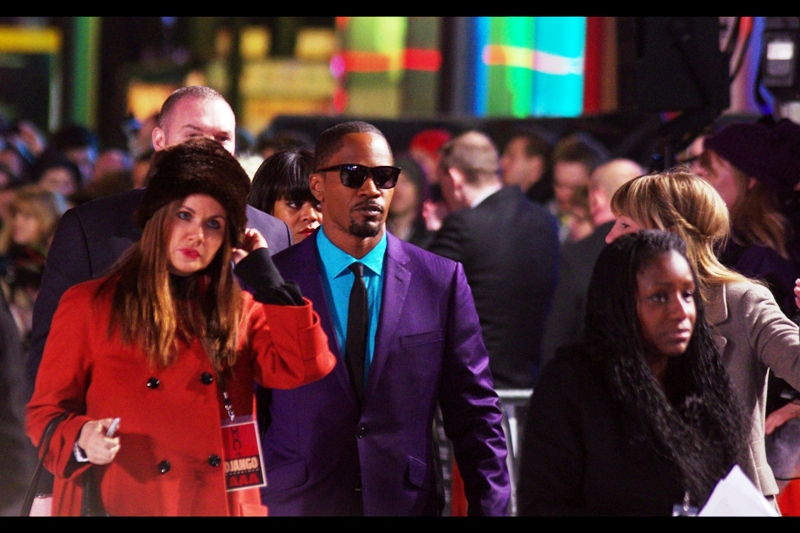 """Jamie, the sunglasses are meant for everyone else who has to look at your suit, not you when wearing it""  It's Jamie Foxx! He's won Grammies AND an Oscar, whereas I once won a merit certificate in High School for punctuality / full attendance during a calendar year. We're all winners, is what I'm sayin'."