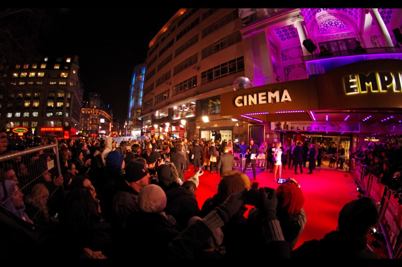 My spot was poor and the premiere space itself was small, but there is a place for a Samyang 8mm held aloft, if for nothing else, then for establishing shots. Not shown in picture : how cold it was. Temperatures were pretty much spot on zero degrees celsius in London. (I was wearing layers.)